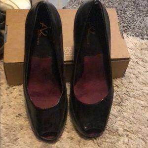 Aerosols women's black peep toe 3 inch heel dress